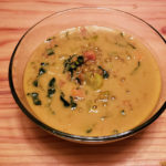 french lentil tumeric soup in bowl